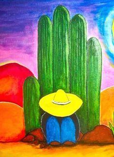 by Pamela Price Cactus Painting, Cactus Art, Art Rupestre, Mexican Paintings, Rock Painting Patterns, Desert Art, Southwest Art, Mexican Folk Art, Rock Art