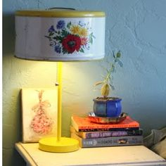 Take a vintage cake tin and upcycle it into a gorgeous lamp!  The best part is that Merrilee found the cake carrier for free at a garage sale.  Now that is a score.