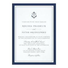 Nautical Navy Anchor Monogram Wedding Invitation designed by RedwoodAndVine. This invitation is available on 11 different card stocks. Nautical Wedding Invitations, Wedding Invitation Wording, Custom Invitations, Invitation Kits, Invitation Envelopes, Invitation Templates, Party Invitations, Invitation Design, Nautical Wedding