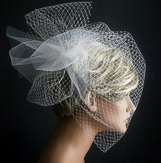 Wedding Viel Full Birdcage Veil With Poof in Ivory by casamoda, $52.00