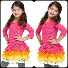 Crochet Patterns Girl Caron Rows o' Ruffles Dress with free pattern. Crochet Girl Dress with Free… Crochet Girls Dress Pattern, Crochet Tutu, Crochet Skirts, Girl Dress Patterns, Crochet Patterns, Crochet Cardigan, Crochet Ideas, Crochet Stitches, Knitting Patterns