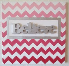 Pink Ombre Chevron Art Canvas Painting by ArtisticMuseAlley, $25.00