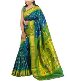 Peacock blue green Pure Authentic Paithani Silk Saree