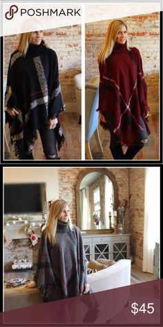 ❗️NOW AVAILABLE❗️SUPER SOFT TURTLENECK PONCHO Now available, will ship today!  Super soft turtleneck plaid poncho. 100% Acrylic.  Available in black, gray and burgundy. One size fits all.  Please comment with any questions.⭐️ Purchase by noon EST and item(s) ship the same day!  Bundle and save! Ladies & Linen Sweaters Shrugs & Ponchos