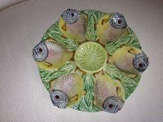 Oyster Plate Majolica Fish Design RARE | eBay