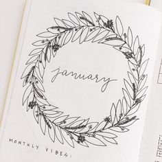 Bullet Journal Monthly wreath  Instagram photo by @hiheyhello_co
