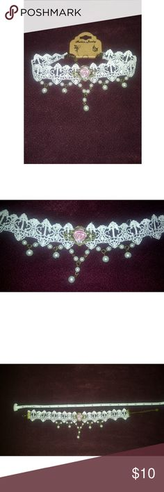 White lace choker with pearls and a rose bud 🥀 Gorgeous and dainty lace choker necklace. With adorable pearls and a little blush rose bud in the center. It is about 15.5 inches long. fashion jewelry Jewelry Necklaces