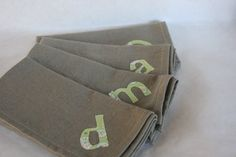 Reusable Cloth Napkins Personalized on Taupe by thehighfiberco, $46.00