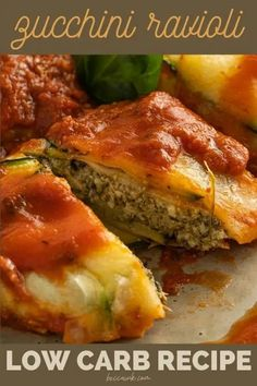Make this tasty zucchini ravioli recipe as a low carb dinner idea for your family. This vegetarian zucchini recipe uses the popular summer squash in place of pasta noodles in this delicious meal. They add extra vitamins and minerals to your diet without adding carbs from pasta. So it not only tastes great, it is also an easy way to use extra zucchini from your garden for delicious meal ideas. This healthy dinner idea can also help you save money by buying extra zucchini when squash is in season. Vegetarian Zucchini Recipes, Spinach Recipes, Healthy Zucchini, Zucchini Ravioli, Spinach Ricotta, Ravioli Recipe, Pasta Noodles, Summer Squash, Easy Dinner Recipes