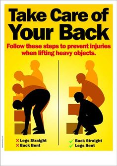 Workplace Safety Poster - Take Care of Your Back | Safety Poster Shop