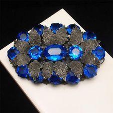 Чешская брошь заколка сочный синий камни Винтаж