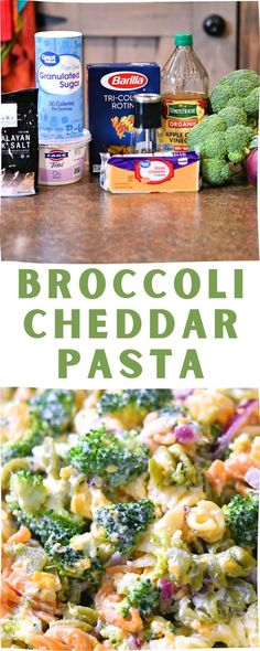 This Broccoli Cheddar Pasta Salad Recipe is what happens when you can't get to Walmart to get your favorite deli pasta salad, going one step further by using healthier ingredients too! Although this recipe works great for a side pasta salad, try it for a light meal instead as well. Lunch and brunch are perfect. Get togethers and potlucks crave this too! Easy Pasta Recipes, Pasta Salad Recipes, Light Recipes, Healthy Recipes, Broccoli Pasta, Broccoli Cheddar, Vegetarian Entrees, Pasta Noodles, Soup And Salad
