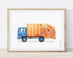 Garbage Truck Wall Art, Garbage Truck Decor, Garbage Truck Birthday, Truck Print, Toddlers Truck Prints, Transportation Wall Art Children by MORILAND on Etsy