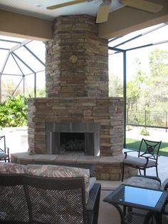 Patio Corner Fireplace Design,
