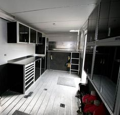 Some of the lightweight Moduline aluminum cabinets in 36' Gooseneck Race Car Trailer. www.modulinecabinets.com