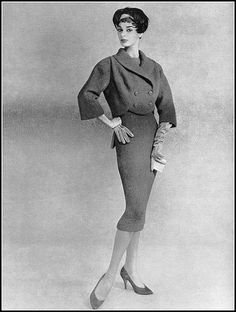 Jacky Mazel in wool ensemble by Jacques Heim, coiffure by … | Flickr