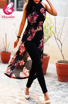 Buy Black Printed Georgette Floral Sleeveless Long Kurti Online in India Simple Kurti Designs, Kurti Neck Designs, Stylish Dress Designs, Kurta Designs Women, Kurti Designs Party Wear, Stylish Dresses, Long Dress Fashion, Indian Fashion Dresses, Dress Indian Style