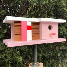 The latest in my line of mid-century and modern birdhouse designs. Modern Birdhouses, Birdhouse Designs, Bird Houses, Art Pieces, Mid Century, Woodworking, Outdoor Decor, Home Decor, Decoration Home