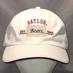6e8ead701e69b Vintage Baylor Bears Strapback Hat College Caps White Red Blue Baseball Cap  Hat Baylor University Sp