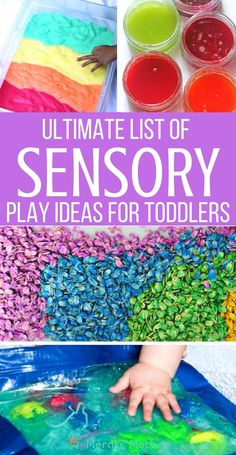 The ultimate list with more than 25 sensory play ideas. Check out the full blog post now. sensory play ideas | sensory play ideas for babies | sensory play ideas for toddlers | sensory play ideas autism | sensory play ideas preschool