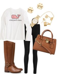 """lologymnast96: """" Tory & Michael by southernprep13 featuring bracelet watches ❤ liked on Polyvore Donna Karan elastic waist pants / Tory Burch knee high boots / Michael Kors real leather purse, $435 /..."""