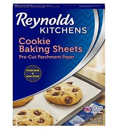 Reynolds Kitchens Cookie Baking Sheets Parchment Paper (Non-Stick, 22 Sheets). x pre-cut characteristic material paper sheets with non-stick Price Cookies Et Biscuits, Sugar Cookies, Chip Cookies, Tates Cookies, Baking Parchment, Parchment Paper, Flourless Peanut Butter Cookies, Honey Roasted Peanuts, Kitchen Helper