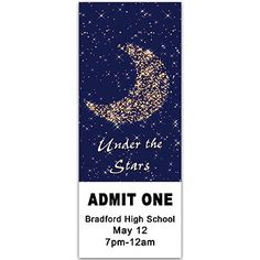 The Moon and Stars Ticket has a charming design of the star filled moon.
