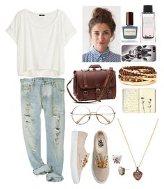 student at Harvard University by tex-french-touch on Polyvore featuring polyvore, fashion, style, H&M, Vans, Forever 21, Juicy Couture, Betsey Johnson, With Love From CA, D&G, Moleskine and INDIE HAIR