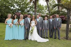 Paul and Sarah Swann with their bridesmaids, best man, ushers - great line up on the Greek, green island of Thassos https://www.facebook.com/media/set/?set=a.10152613494794893.1073741854.184821499892&type=3