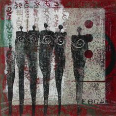 """Figuratively Speaking, monotype by Anne Moore, 10"""" X 10"""""""