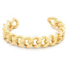 Gemma Redux - Links cuff ($135) ❤ liked on Polyvore featuring jewelry, bracelets, gold jewellery, gold cuff bangle bracelet, gold bangles, cuff jewelry and hinged cuff bracelet