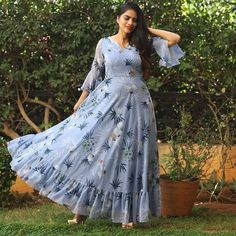 To get your outfit customized visit us at Madinaguda Hyd Call/msg us at 9059019000 / or mail us at… Long Gown Dress, Sari Dress, Frock Dress, Anarkali Dress, The Dress, Indian Anarkali, Indian Salwar Kameez, Lehenga Saree, Designs For Dresses