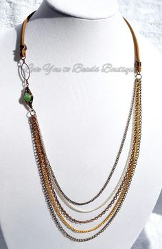 Amazonite bead on leather and metal chain necklace by LoveU2beads