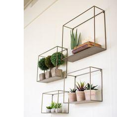 $115 wire hanging shelves geometric cube shape, vintage antique look