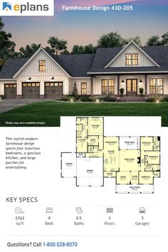 house plans farmhouse & house plans & house plans one story & house plans farmhouse & house plans with wrap around porch & house plans with in law suite & house plans 4 bedroom & house plans with basement & house plans open floor New House Plans, Dream House Plans, Dream Houses, Farm Houses, House Design Plans, 4000 Sq Ft House Plans, Retirement House Plans, House Plans One Story, Architectural Design House Plans