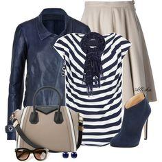 Flared Skirt&Leather Jacket, created by allisha-fa on Polyvore