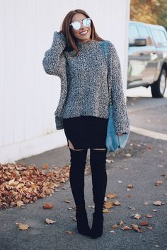 Fall Outfit - Sweater Over Dress