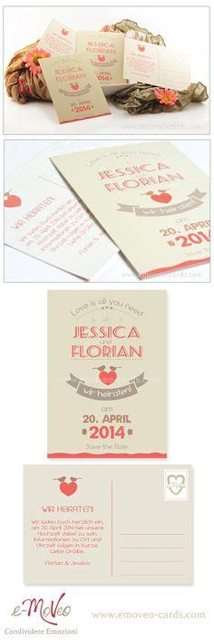 Coral wedding: Save the Date by e-MoVeo Cards Invito Matrimonio Hochzeitseinladung www.emoveo-cards.com
