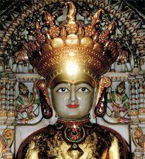 Sun beam focused on forehead of Lord Mahavir on 22nd May at Koba, Gandhinagar, Gujarat.