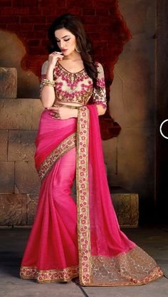 #Pink #Bembarg #Chiffon #Party Wear #Saree #nikvik  #usa  #australia  #bridal #wedding #Embroidery #Embroidered