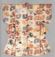 Noh robe for young nobleman's role with design of scattered chrysanthemums and linked squares Weft patterning (atsuita karaori) on white silk ground