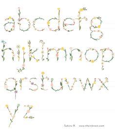 Dainty Blossom Alphabet | The Ink Nest