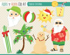 Tropical Christmas Clip Art - color and outlines $