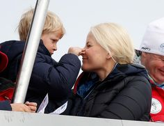 Prince Sverre Magnus plays with mom Crown Princess Mette Marit of Norway at  the  FIS World Cup Nordic Holmenkollen 2013  in Oslo. 3/17/13