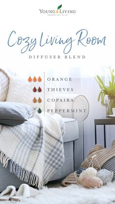 cozy living room diffuser blend Brighten indoor and outdoor spaces with these eight diffuser blends. Young Living Diffuser, Young Living Oils, Young Living Essential Oils, Young Living Copaiba, Young Living Thieves, Essential Oils Guide, Copaiba Essential Oil, Thieves Essential Oil, Raven Essential Oil