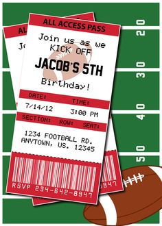 invitations Kansas City Chiefs football ticket - Football Birthday Party or Superbowl invite by HeathersCreations11
