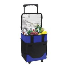 A collapsible 32-can capacity cooler on wheels with insulated, waterproof Thermal Shield™ cooler compartment. It has a telescopic steel handle with durable wheels that is great for tailgating and picnicking. Hook-and-loop straps enable