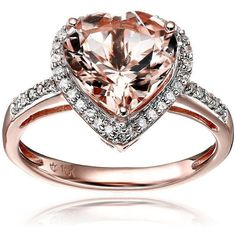 Rose Gold Morganite and Diamond Heart Halo Engagement Ring H-I Color, Clarity), Size 7 * Engagement Rings And Wedding Bands Engagement Ring Sizes, Beautiful Engagement Rings, Beautiful Rings, Oval Engagement, Gold Gold, White Gold, Bling Bling, Bijoux Or Rose, Wedding Jewelry