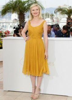 Scoop Tea Length Yellow A Line Party Dress Inspired By Kirsten Dunst At Cannes Film Festival