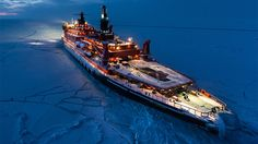 Stunning night images of a nuclear ice breaker in the middle of nowhere